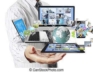 technologie, in, de, handen
