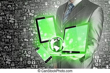 technologie, in, de, handen, van, zakenlieden