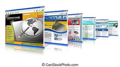 technologie, internet, websites, oben stehen