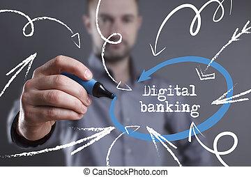 technologie, internet, zakelijk, en, marketing., jonge, zakenmens , schrijvende , word:, digitaal bankwezen