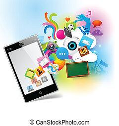 technologie, kleurrijke