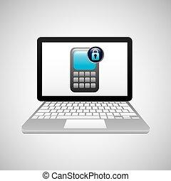 technologie, laptop, schutz, finanziell, sicherheit