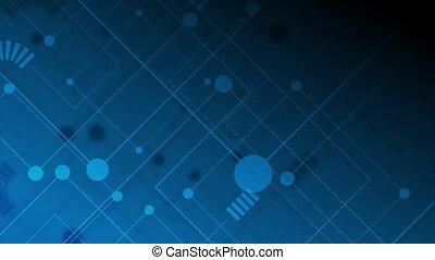 technologie, lignes, planche, fond, dessin, circuit, résumé, bleu sombre, mouvement