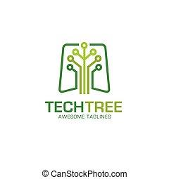 technologie, logo, arbre, vecteur
