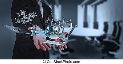 technologie, modern, arbeitende , geschäftsmann