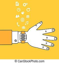 technologie, montre, usure, intelligent, main