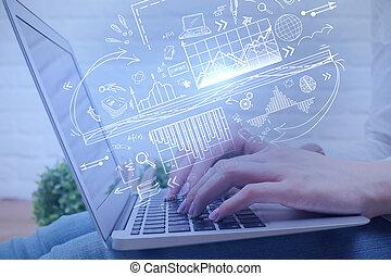 technologie, netwerk, en, financiën, concept