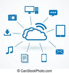 technologie, nuage, calculer