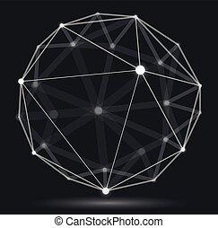 technologie, numérique, profondeur, dynamique, vecteur, conception, style, treillis, maille, polygonal, résumé, points, effect., 3d, abstraction, champ, science, sphère, lignes, dimensionnel, connexions, réaliste