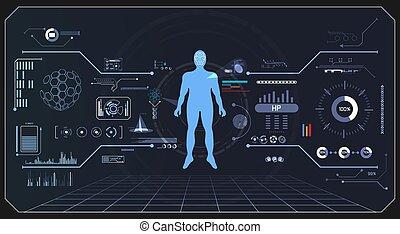 technologie numérique, résumé, technologie, ui, calculer, interface, hud, hologramme, données, humain, santé, avenir, diagramme, conception, fond, futuriste, communication, innovation, salut, éléments