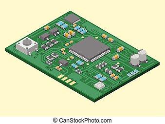 technologie, opstellen, pcba, oppervlakte
