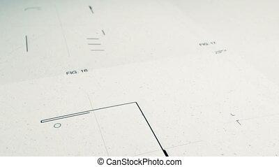 technologie, patents, tekening, animatio