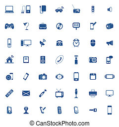 technologie, pictogram, set