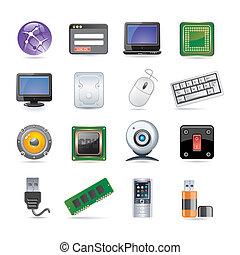 technologie, pictogram, set