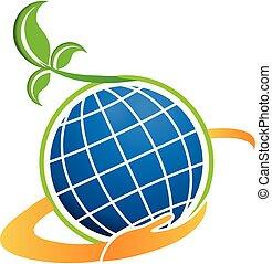 technologie, plant, natuurlijke , globe, pictogram