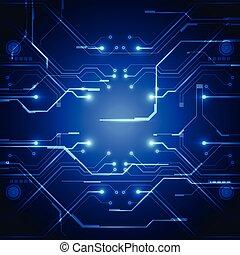 technologie, platine, vektor, hintergrund, abbildung