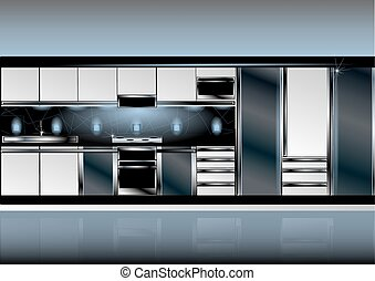 technologie pointe, blanc, style, cuisine
