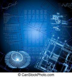 technologie pointe, dessins, graphiques