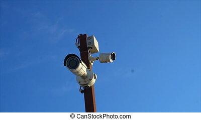 technologie pointe, poteau, appareil photo, cctv