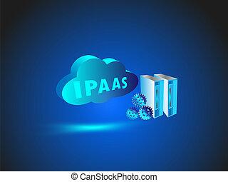 technologie, réseau, nuage, calculer