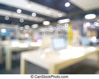 technologie, retails, à, brouillé, bokeh, fond