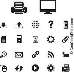 technologie, set, computer ikoon