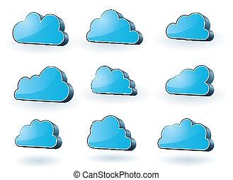 technologie, set, wolken