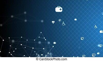 technologie, soin, monde médical, innovation, science., moléculaire, fond, structure, boucle, santé