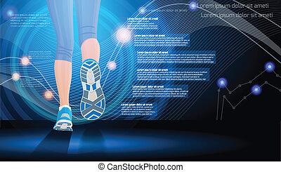 technologie, sport, hintergrund
