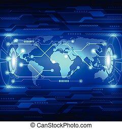 technologie, télécommunications, résumé, global, vecteur, fond, avenir, électrique