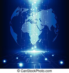 technologie, telecom, abstrakt, global, vektor, hintergrund...
