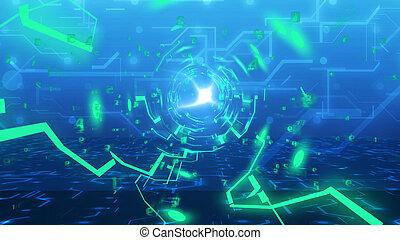 technologie, tunnel, van, imitatie, van, circuit plank