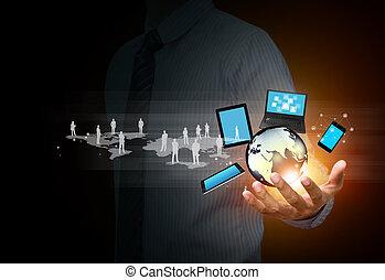 technologie, und, sozial, medien