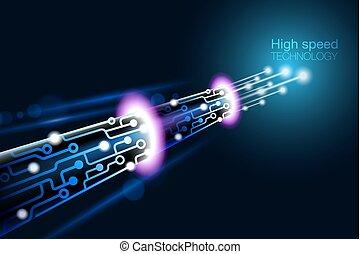 technologie, vitesse, élevé