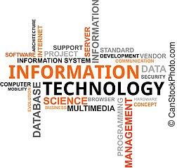 technologie, -, wolk, woord, informatie