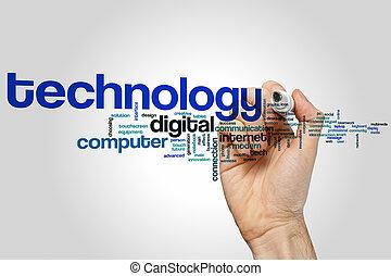 technologie, woord, wolk
