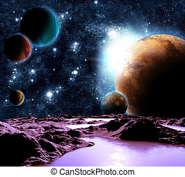 technologies., 抽象的, 惑星, 源, 未来, 遠い, planets., イメージ, water., 新しい, ファインド, 旅行
