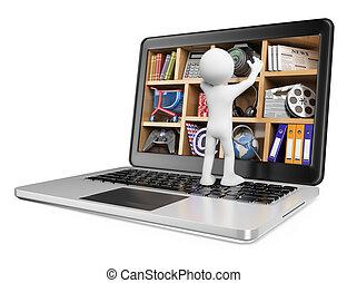 technologies., conceito, pessoas., multimedia, novo, branca, 3d