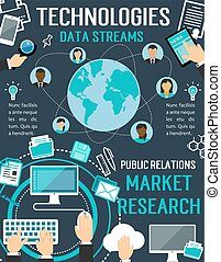 Technologies data streams vector digital poster