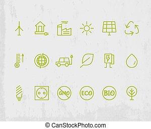 technologies., ecologia, grunge, esboço, proteção, experiência., eco, set., isolado, ambiental, vetorial, magra, verde, linha, ícone, design.