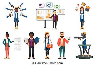 technologies., ensemble, gens, moderne, vecteur, utilisation
