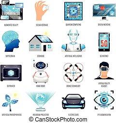 Technologies Of Future Icons Set - Technologies of future...
