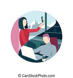 technologies., via, relazione, comunicare, coppia, moderno, interurbano
