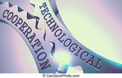 technologique, coopération, -, texte, sur, métal, dent, gears., 3d.