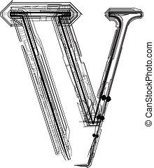 technologique, font., lettre, v