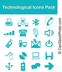 technologique, meute, icônes