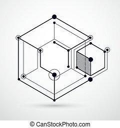technologique, numérique, plan, géométrique, technique, papier peint, vecteur, blanc, fait, honeycombs., éléments, cubes., conception, ingénierie, fond, noir