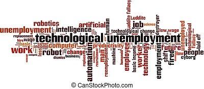 technologisch, wolk, woord, werkloosheid