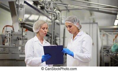 technologists, crème, usine, glace, femmes
