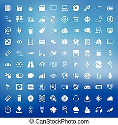 technology 100 icons set for web flat